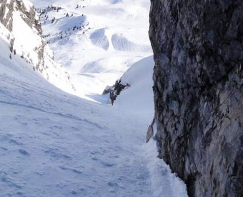 winter ski jacket in extreme couloir alps